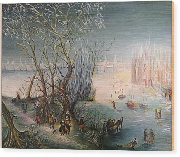 Winter Scene Wood Print by Egidio Graziani