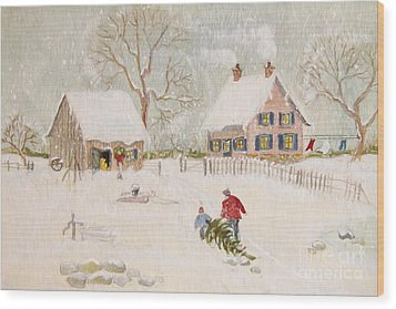 Wood Print featuring the photograph Winter Scene Of A Farm With People/ Digitally Altered by Sandra Cunningham