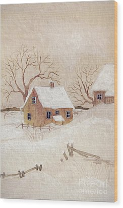 Wood Print featuring the photograph Winter Scene With Farmhouse/ Digitally Altered by Sandra Cunningham