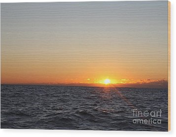 Winter Sunrise Over The Ocean Wood Print