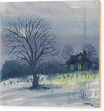 Wood Print featuring the mixed media Winter Tree by Tim Oliver