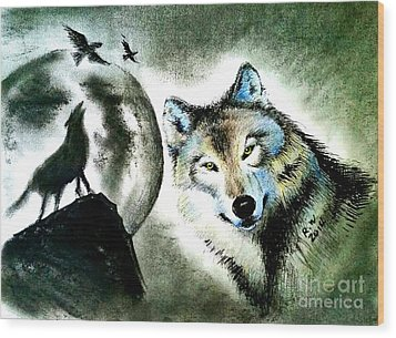 Wolf Wood Print by Rose Wang