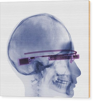 Woman Wearing Google Glass X-ray Wood Print by Ted Kinsman
