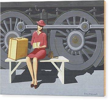 Woman With Locomotive Wood Print