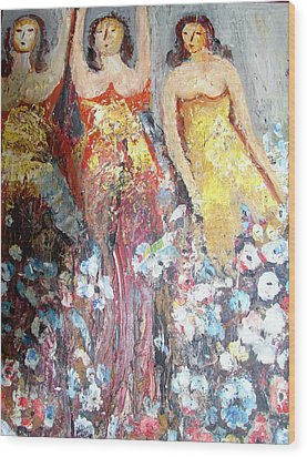 Women With Flowers Wood Print by Anand Swaroop Manchiraju