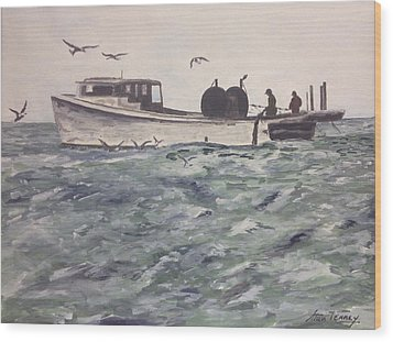 Workboat Wood Print by Stan Tenney