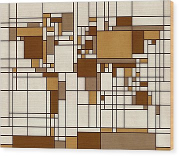 World Map Abstract Mondrian Style Wood Print by Michael Tompsett