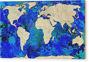 World Map Blue Wood Print by Gary Grayson