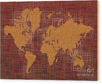 World Map Rettangoli In Orange Red And Brown Wood Print by Eleven Corners