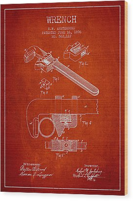 Wrench Patent Drawing From 1896 Wood Print by Aged Pixel