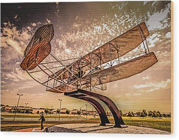 Wright Flyer At Sunset Wood Print by Chris Smith