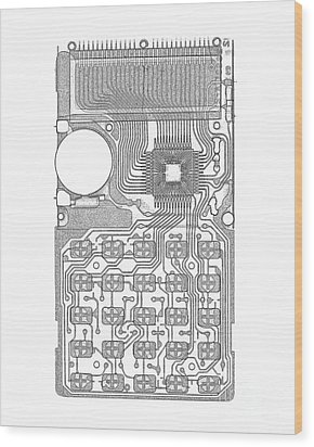 X-ray Of Calculator Wood Print by Bert Myers