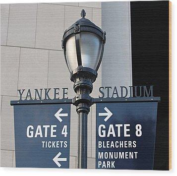 Yankee Stadium Sign Post Wood Print by Aurelio Zucco