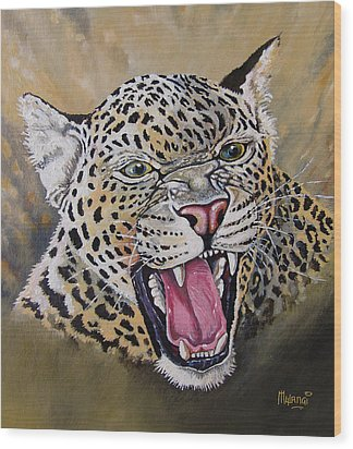 Wood Print featuring the painting Yawn by Anthony Mwangi