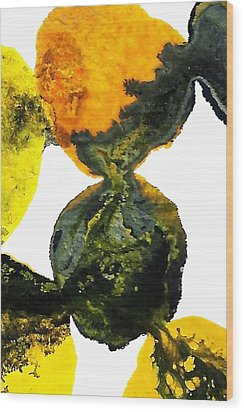 Yellow And Gray Interactions 8 Wood Print by Amy Vangsgard