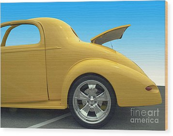 Yellow Coupe Wood Print