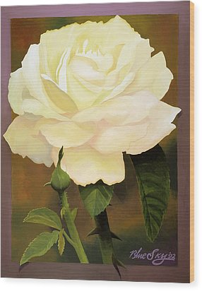 Yellow Rose Wood Print by Blue Sky
