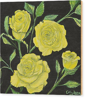 Wood Print featuring the painting Yellow Roses by Cathy Long