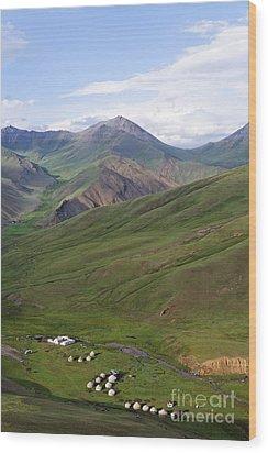Yurts In The Tash Rabat Valley Of Kyrgyzstan  Wood Print by Robert Preston