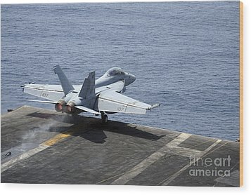 An Fa-18f Super Hornet Launches Wood Print by Stocktrek Images