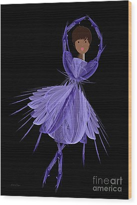 10 Blue Ballerina Wood Print by Andee Design