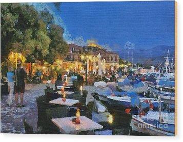 Molyvos Town In Lesvos Island Wood Print by George Atsametakis