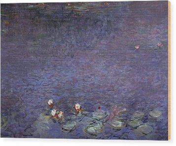 Water Lilies Wood Print by Claude Monet