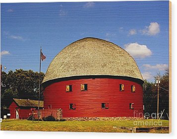 Wood Print featuring the photograph 100 Year Old Round Red Barn  by Janette Boyd