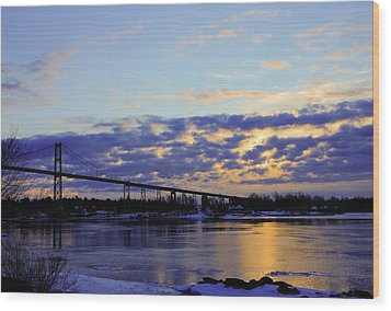 1000 Island Bridge Sunrise Wood Print by David Simons
