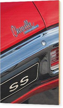 1970 Chevrolet Chevelle Ss Taillight Emblem Wood Print by Jill Reger