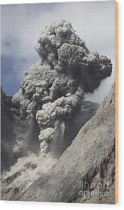 Ash Cloud Rises From Crater Of Batu Wood Print by Richard Roscoe