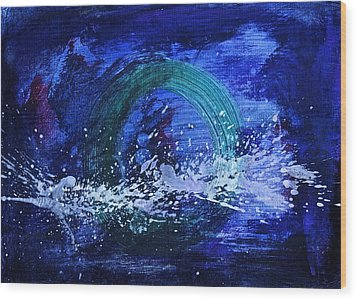 Wood Print featuring the painting White Splash by Tracey Myers