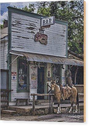 11th Street Cowboy Bar In Bandera Texas Wood Print by Priscilla Burgers