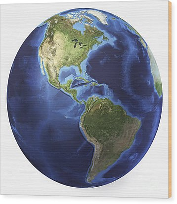 3d Rendering Of Planet Earth, Centered Wood Print by Leonello Calvetti