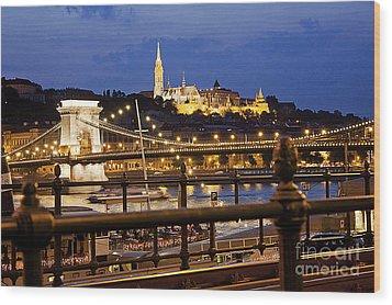 Budapest By Night Wood Print by Odon Czintos