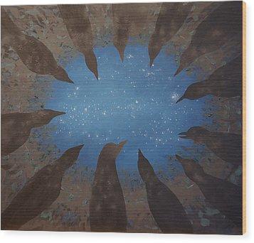 Wood Print featuring the painting 12 Crows Pondering by Tone Aanderaa