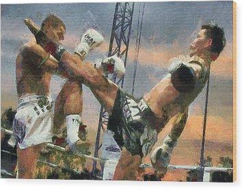 Muay Thai Arts Of Fighting Wood Print by Rames Ratyantarakor