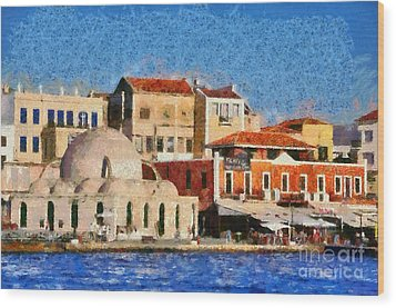 Painting Of The Old Port Of Chania Wood Print