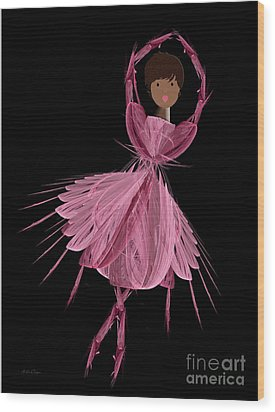 12 Pink Ballerina Wood Print by Andee Design