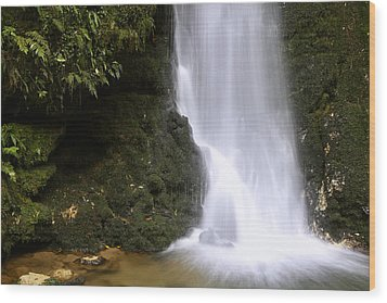 Waterfall Wood Print by Les Cunliffe
