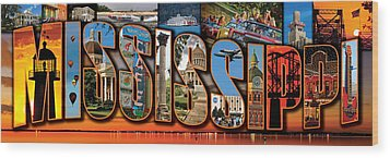 12 X 36 Horizontal Mississippi Postcard Version 1 Wood Print by Jim Albritton