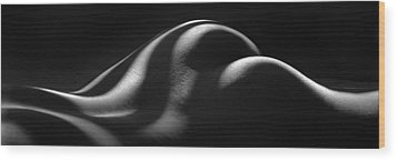 1220 Zebra Striped Nude Back And Bottom Fine Art Bw Nude 1 To 3 Ratio Wood Print