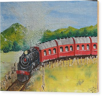 Wood Print featuring the painting 1271 Steam Engine by Denise Tomasura