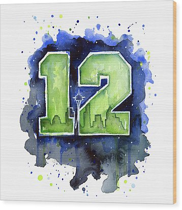 12th Man Seahawks Art Seattle Go Hawks Wood Print by Olga Shvartsur