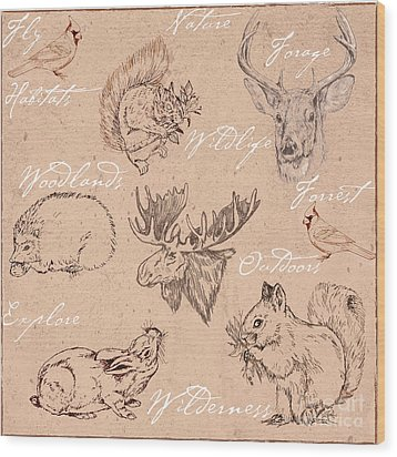 Wildlife Animal Pattern Wood Print