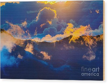 Clouds At Sunrise Over Haleakala Crater Maui Hawaii Usa Wood Print