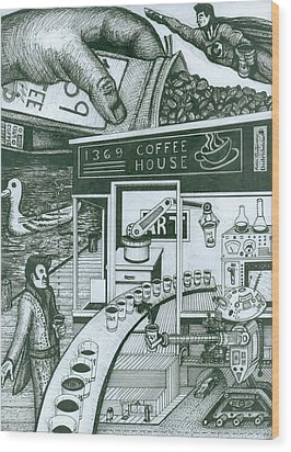 Wood Print featuring the painting 1369 Coffee House by Richie Montgomery