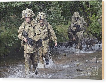 Welsh Guards Training Wood Print by Andrew Chittock