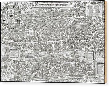 1576 Zurich Switzerland Map Wood Print by Daniel Hagerman