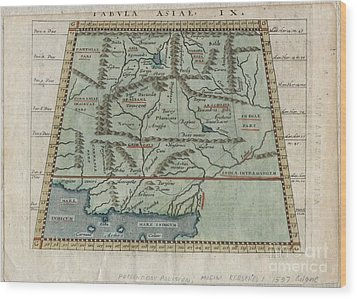 1597 Ptolemy  Magini  Keschedt Map Of Pakistan Iran And Afghanistan Wood Print by Paul Fearn